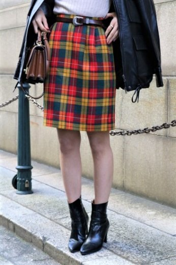 【vintage】Yves Saint Laurent / tartan check pattern narrow skirt