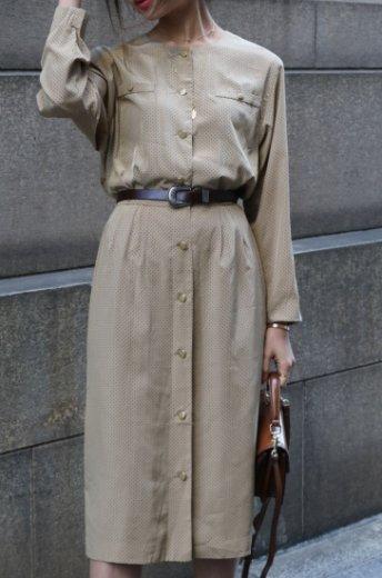 【vintage】front gold button dot pattern flare dress
