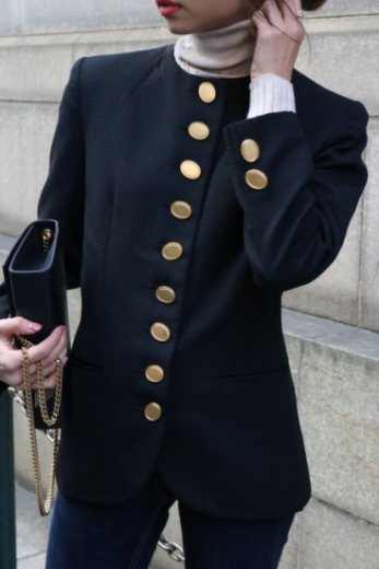 【vintage】Christian Dior / gold oval button no collar wool jacket / black