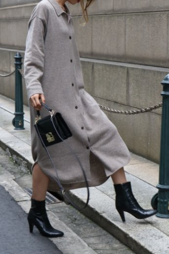 cashmere mix 2way front button wool knit long dress (belt ribbon set) / brown
