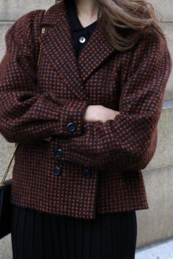 【vintage】Christian Dior / notched lapel collar short wool jacket