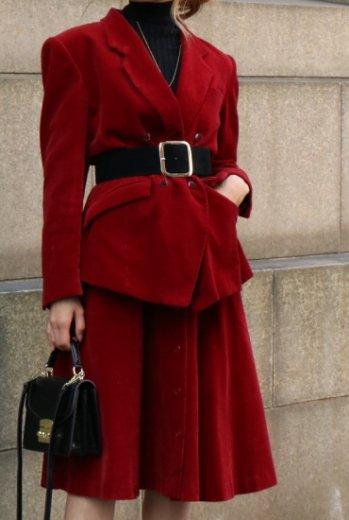 【vintage】KENZO / corduroy jacket & button down skirt set up / bordeaux
