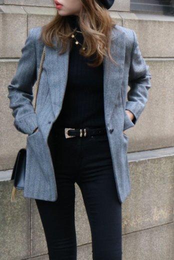 【vintage】GUCCI / peaked lapel collar herring bone pattern jacket