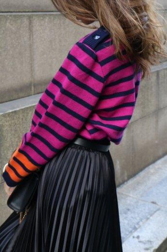 【vintage】Yves Saint Laurent / cashmere mix stripe pattern knit tops