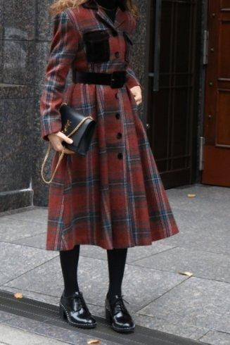 <img class='new_mark_img1' src='https://img.shop-pro.jp/img/new/icons20.gif' style='border:none;display:inline;margin:0px;padding:0px;width:auto;' />open collar tartan check pattern coat dress (belt set) / red
