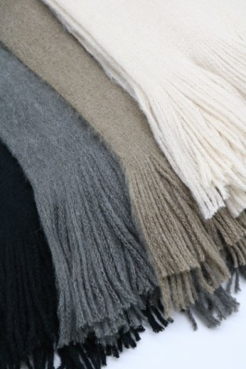 fringe long muffler / ivory・beige・gray・black