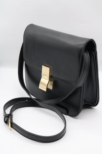 gold clip pochette bag / black