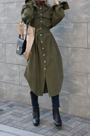 front button corduroy long dress (belt set) / khaki