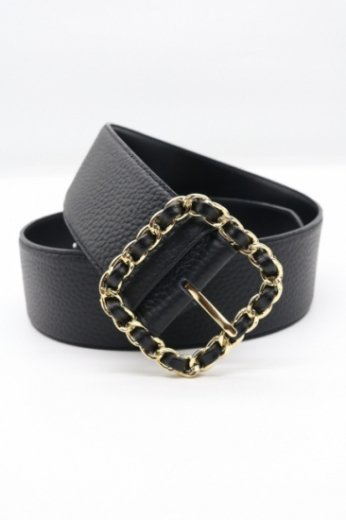 gold chain motif square buckle shrink faux leather belt