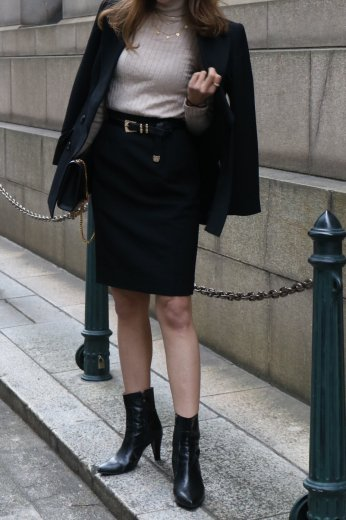 【vintage】Yves Saint Laurent / herringbone pattern jacket & skirt set up