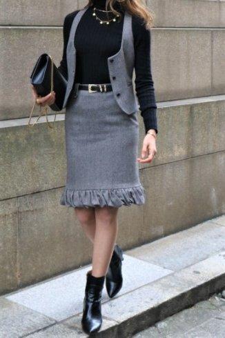 【vintage】GUCCI / herringbone pattern vest & narrow skirt set up