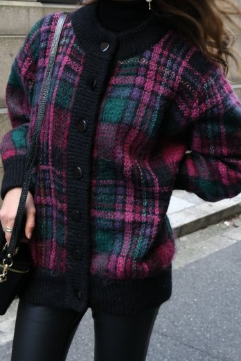 【vintage】rib neck check pattern knit cardigan
