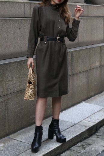 【vintage】stand collar silver button tuck design dress