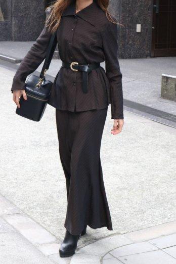 【vintage】cut away collar stripe pattern blouse & skirt set up
