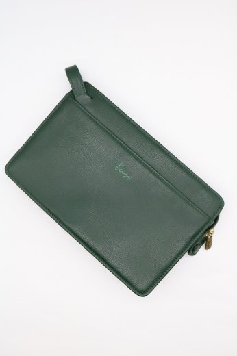 【vintage】KENZO / embroidery logo leather clutch bag
