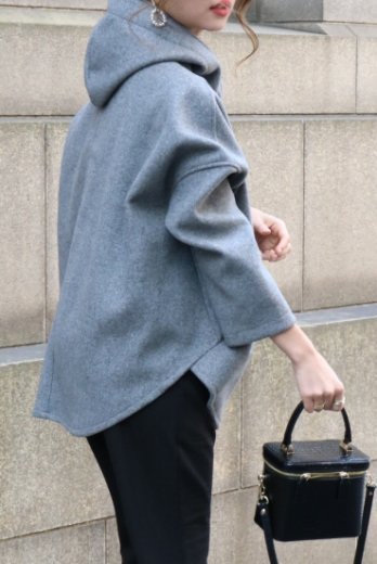 half zip 3D neck fishtail hoodie / gray