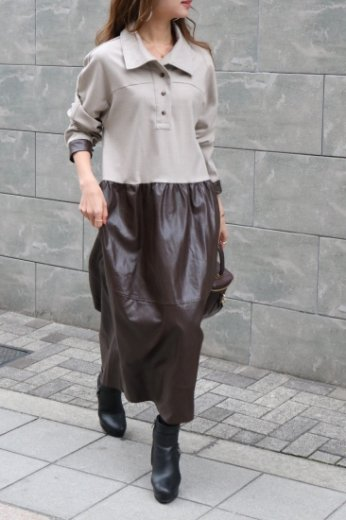 <img class='new_mark_img1' src='https://img.shop-pro.jp/img/new/icons20.gif' style='border:none;display:inline;margin:0px;padding:0px;width:auto;' />cut away collar synthetic leather skirt docking cotton long dress