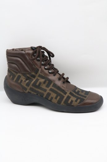 【vintage】FENDI / zucca pattern leather highcut sneakers