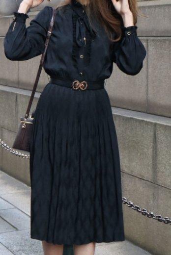 【vintage】stand frill collar west crystal pleats black dress (belt set)
