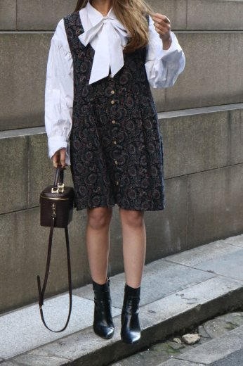 【vintage】waist ribbon paisley pattern corduroy sleeveless dress