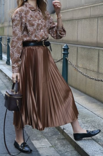 【vintage】open collar paisley pattern blouse