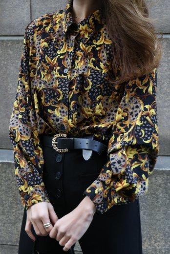 【vintage】scarf motif patterned all over blouse