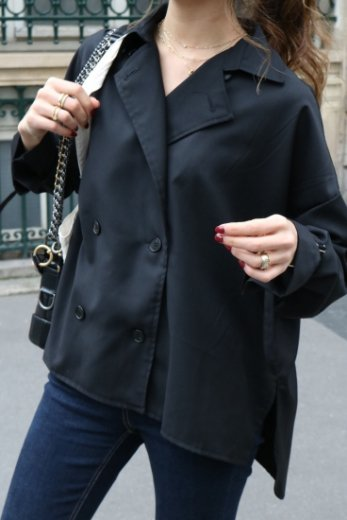 2way trench blouse / black
