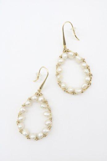 many pearl swing hoop pierced earrings