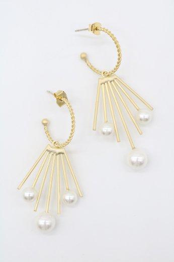 3 pearls swing hoop pierced earrings