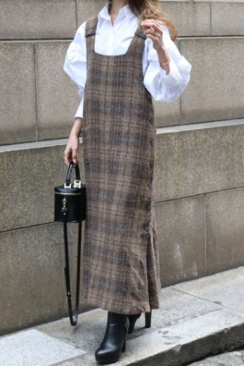 【vintage】check pattern side button long jumper skirt