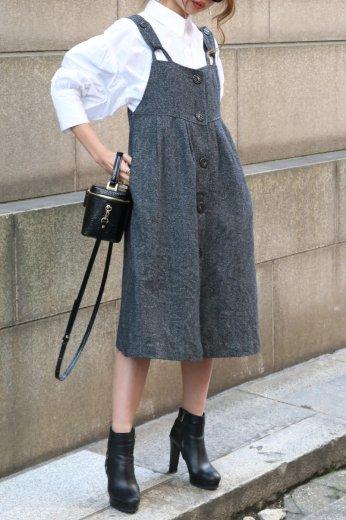 【vintage】front marble button jumper skirt