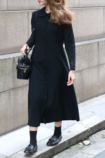 【vintage】round lace collar see-through arms A line dress