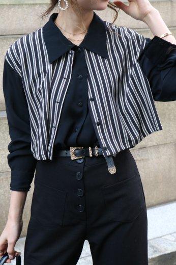 【vintage】stripe layered see-through blouse