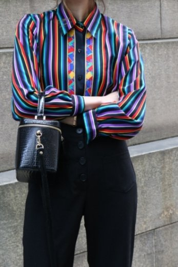 【vintage】front stained glass pattern multi stripe blouse
