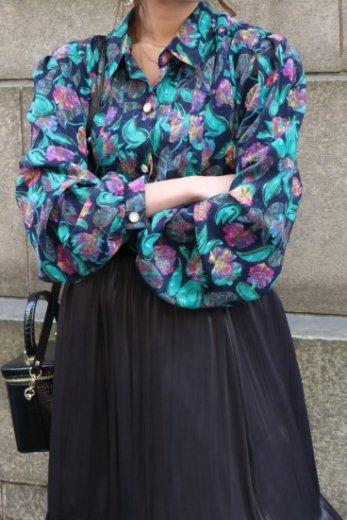 【vintage】front bijou button floral paisley see-through blouse