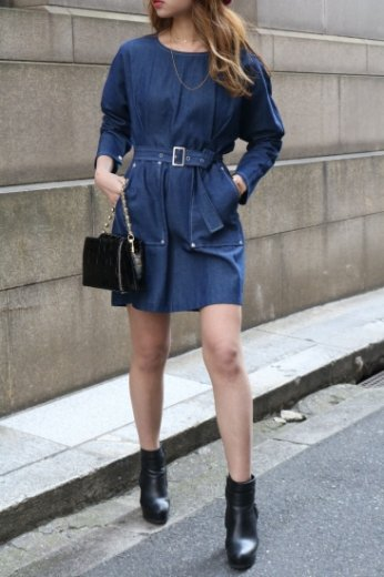 front pocket tuck design cotton dress (belt set) / indigo blue