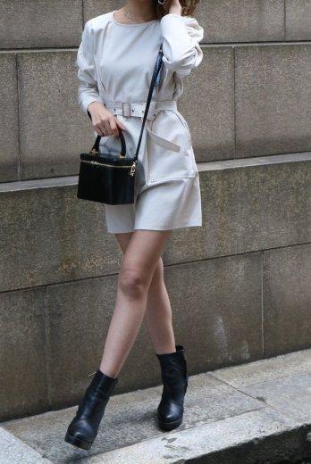 front pocket tuck design cotton dress (belt set) / ivory