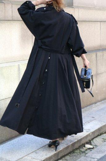 2way back button military long dress (belt set) / black