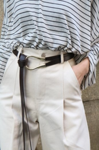 oval buckle synthetic leather double belt / brown