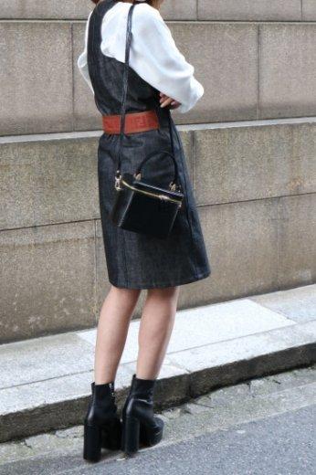 【vintage】FENDI / zucca pattern sleeveless black denim dress