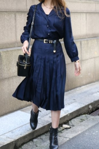 【vintage】Christian Dior / herringbone pattern silk jacket & pleats skirt set up