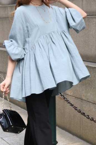 round neck balloon sleeves flare tunic blouse / mint