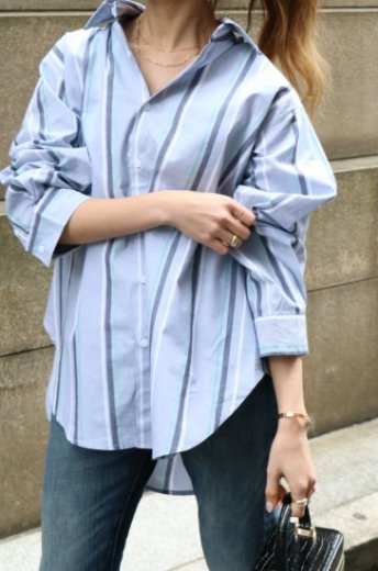 2way big open neckline stripe shirt
