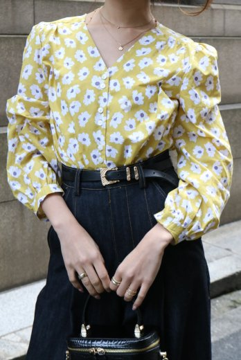 V neck puff sleeves daisy blouse / yellow