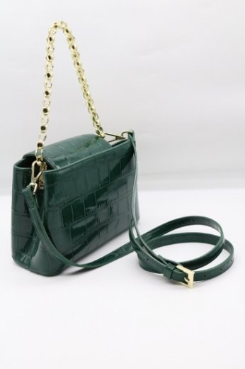 2way croco embossing synthetic leather chain bag / green