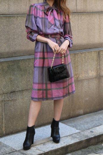 【vintage】front ribbon check pattern dress (belt set)