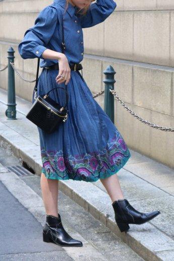 【vintage】loden shoulder patterned all over pleats dress