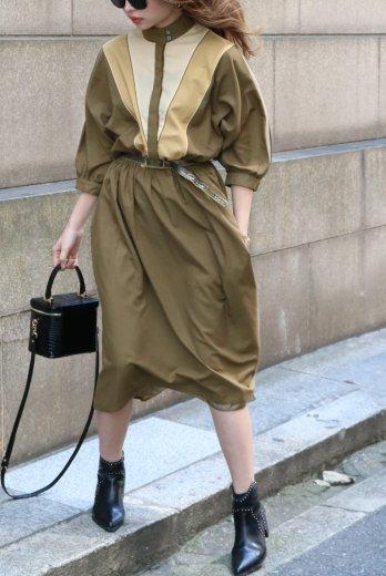 【vintage】80's stand collar fly front button old dress (belt set)