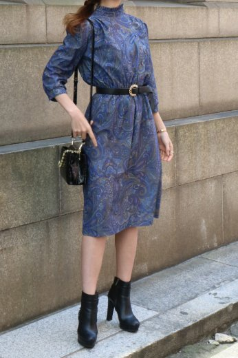 【vintage】80's stand frill collar diagonal button paisley pattern flare dress
