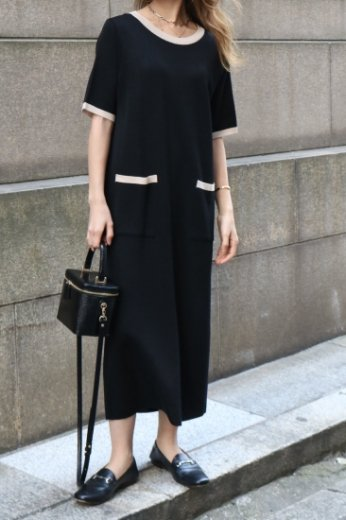 <img class='new_mark_img1' src='https://img.shop-pro.jp/img/new/icons57.gif' style='border:none;display:inline;margin:0px;padding:0px;width:auto;' />round neck bicolor summer knit dress / black